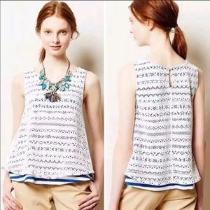 Anthropologie Postmark Lace Tank Top Blouse